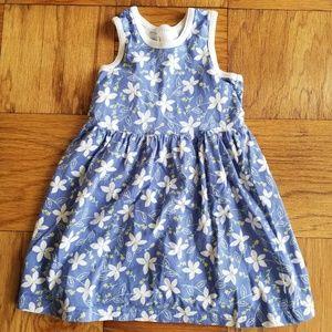 Hanna Andersson Blue Sleeveless Floral Dress EUC